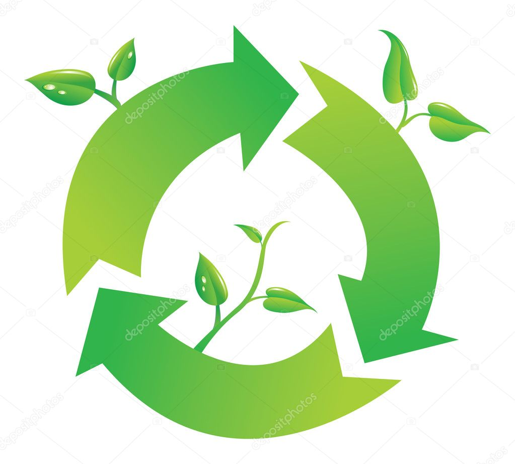 Recycle Symbol Circle Green Recycle Symbol on White