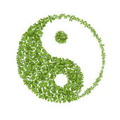 Floral yin yang symbol, natural harmonies icon — Stock Photo