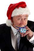 Business Santa and noisemaker — Stock Photo