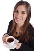 Girl with Tea — Stock Photo