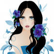 Girl with blue flowers — Stock Vector