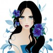Stock Vector: Girl with blue flowers