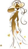 Autumn lady — Stock Vector