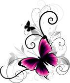 розовая бабочка — Cтоковый вектор