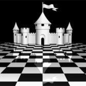 Castle on chessboard — Stock Vector
