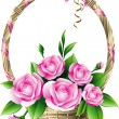 Basket with roses - Stock Vector