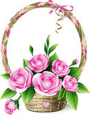 Basket with roses — Vector de stock