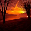 Como lake at sunset — Stock Photo