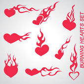 Burning Hearts — Stock Vector