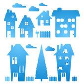 Blue Houses — Stock Vector
