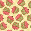 Cupcakes Seamless Pattern - Stockvectorbeeld