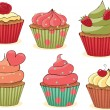 Sketchy Cupcakes Set. - Imagen vectorial
