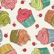 Cupcakes seamless pattern - Stok Vektr