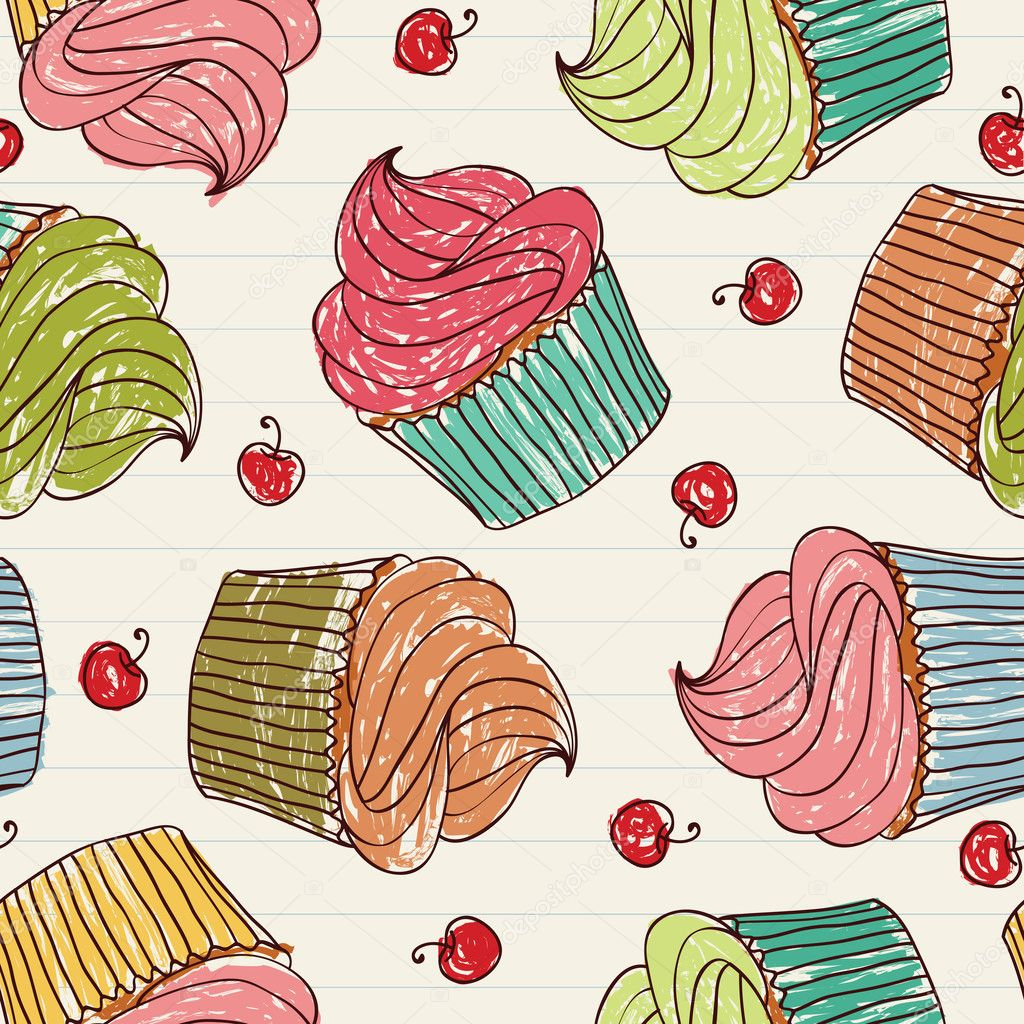 Seamless pattern made of cupcakes and cherries on a notebook. EPS 8 CMYK with global colors vector illustration.   Stock Vector #6529325