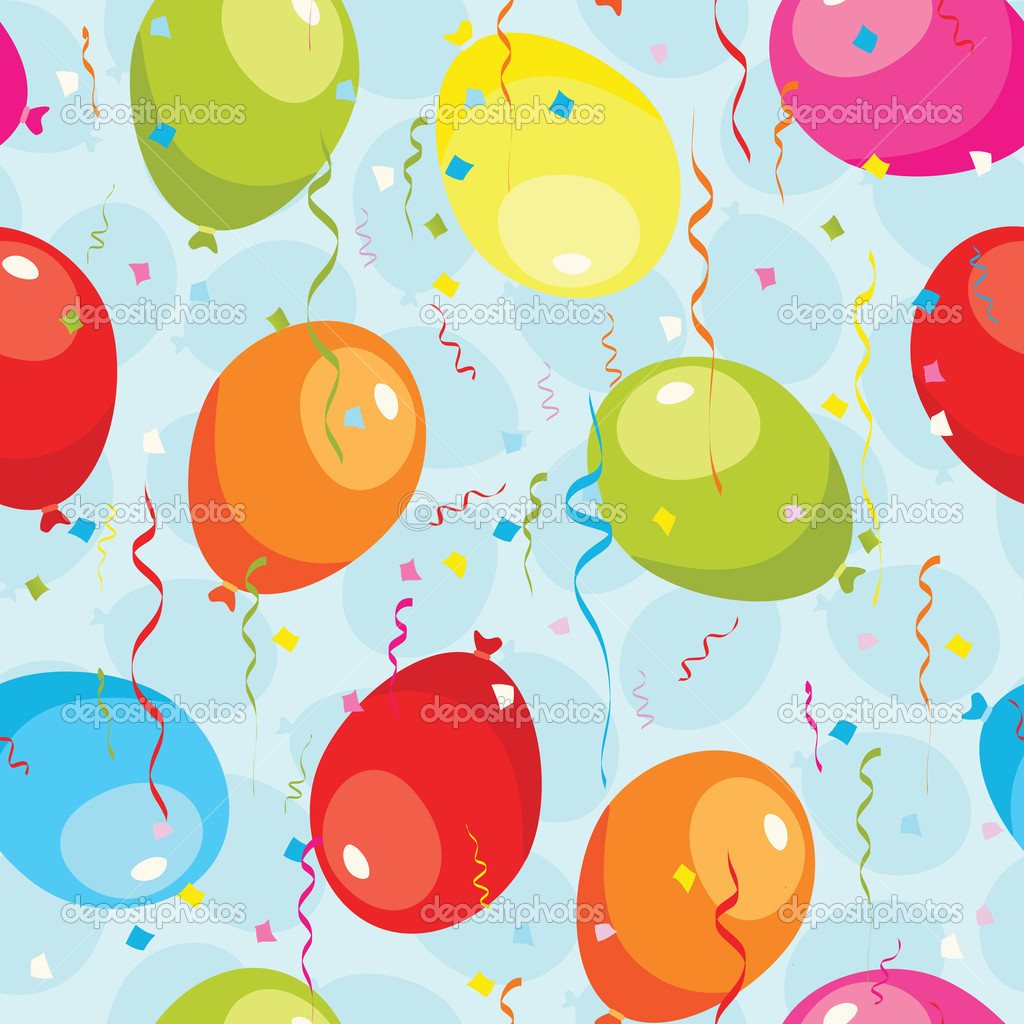 Balloons and confetti seamless pattern. EPS 8 CMYK with global colors vector illustration.  — Stock Vector #6569633