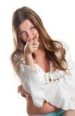La ragazza punta un dito — Foto Stock