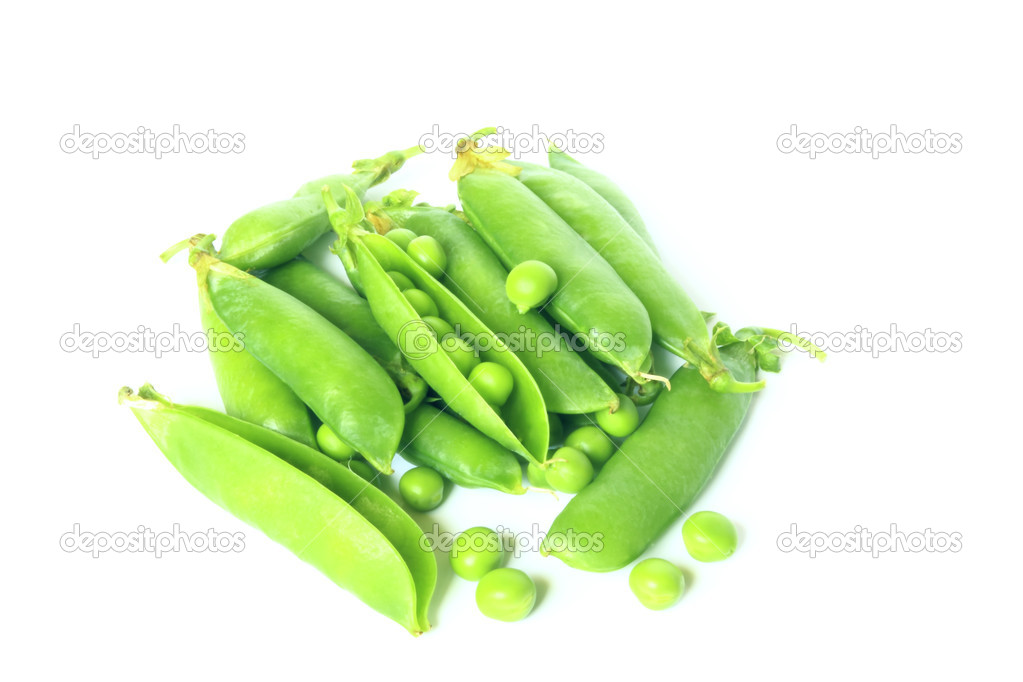 Green peas isolated on white  Stock Photo #6307999