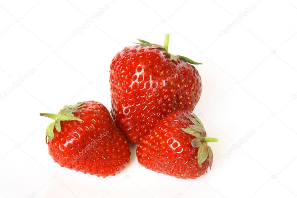 Group of the red strawberries isolated on white  Stock Photo #6308006