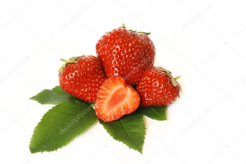 Group of the red strawberries isolated on white — Stock Photo #6308008