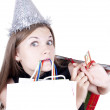 Stock Photo: Beautiful girl with gifts for Christmas