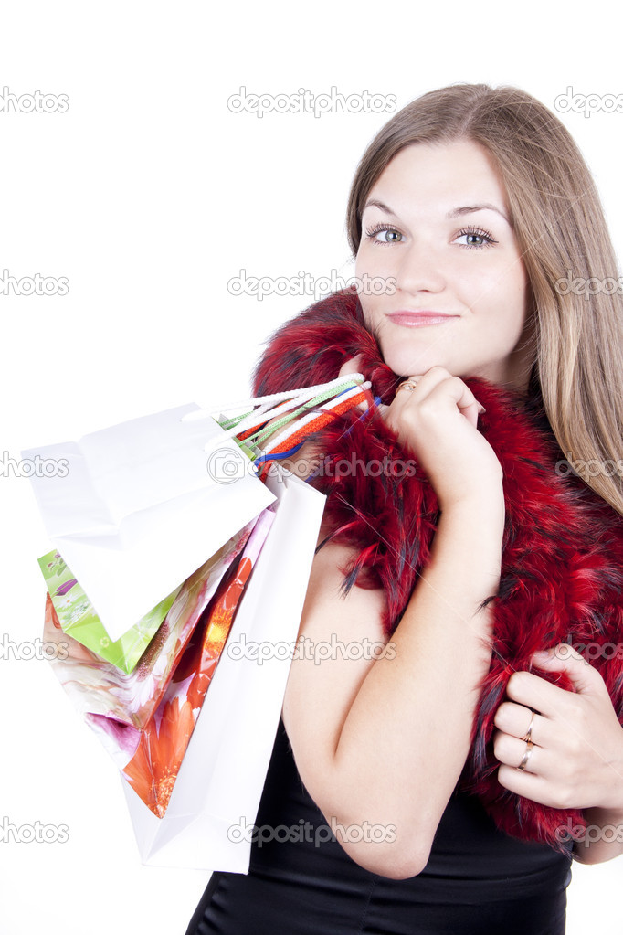 Girl with gifts for Christmas — Stock Photo #6608976