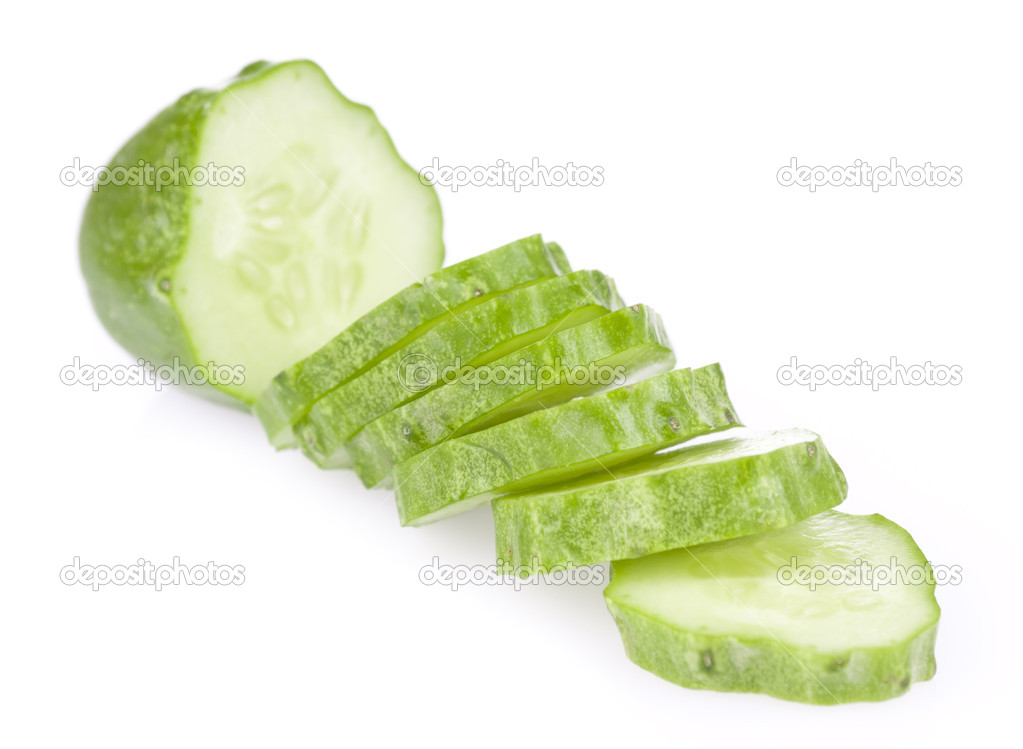 Green cucumber slice, isolated on a white background  Stock Photo #6631895