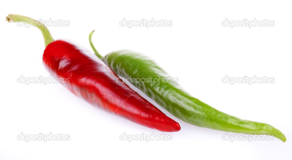 Fresh bitter and sweet pepper isolated on a white background — Stock Photo #6631906