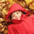 Stock Photo: Autumn - the girl is in the yellow leaves