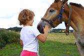 Young girl stroking horse — Stock Photo