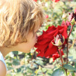 Stock Photo: Girl smelling large red rose
