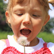 Girl blowing a dandelion — Stock Photo #6300380