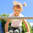 A child enters the ladder on the playground — Stock Photo