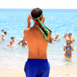 Aqua aerobics on the beach — Stock Photo