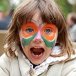 Girl making face painting - Butterfly — Stock Photo