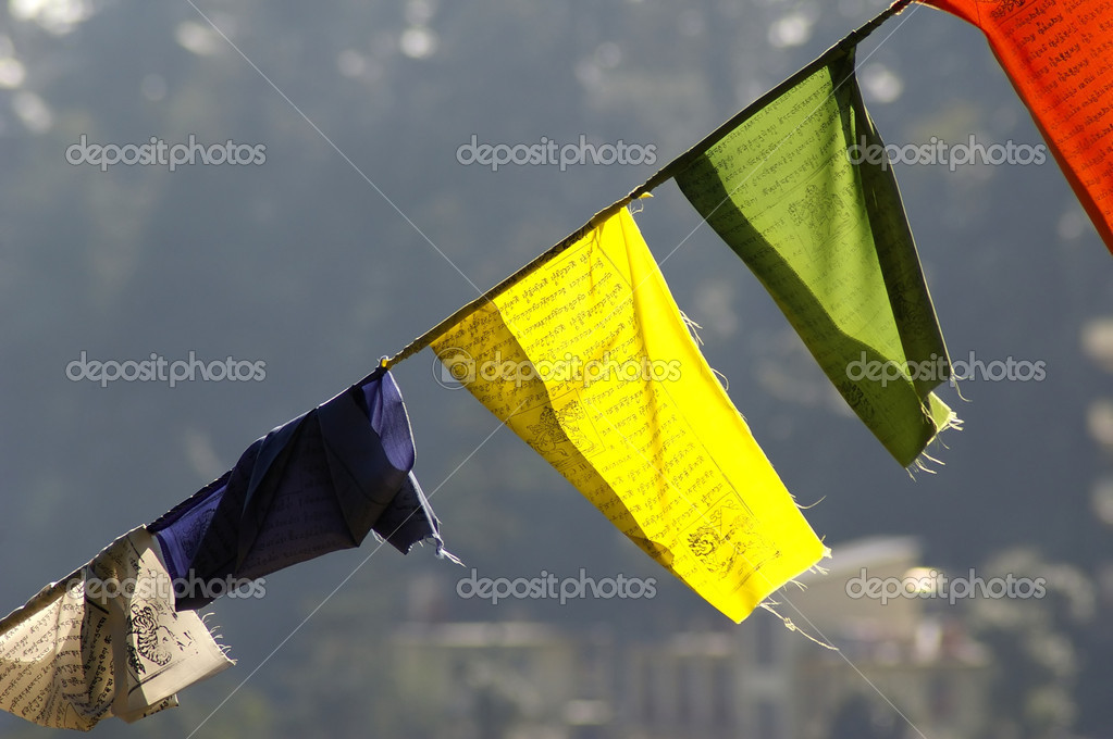 Detail of a colorful praying flags stratched across the walley — Stock Photo #6377129