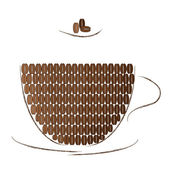 Brown cup filled with coffee beans — Stock Vector