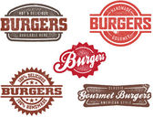 Classic Burger Stamp — Stock Vector