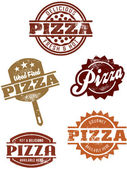 Vintage Pizza Stamps — Stock Vector