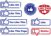 Facebook Like & Dislike Stamps — 图库矢量图片