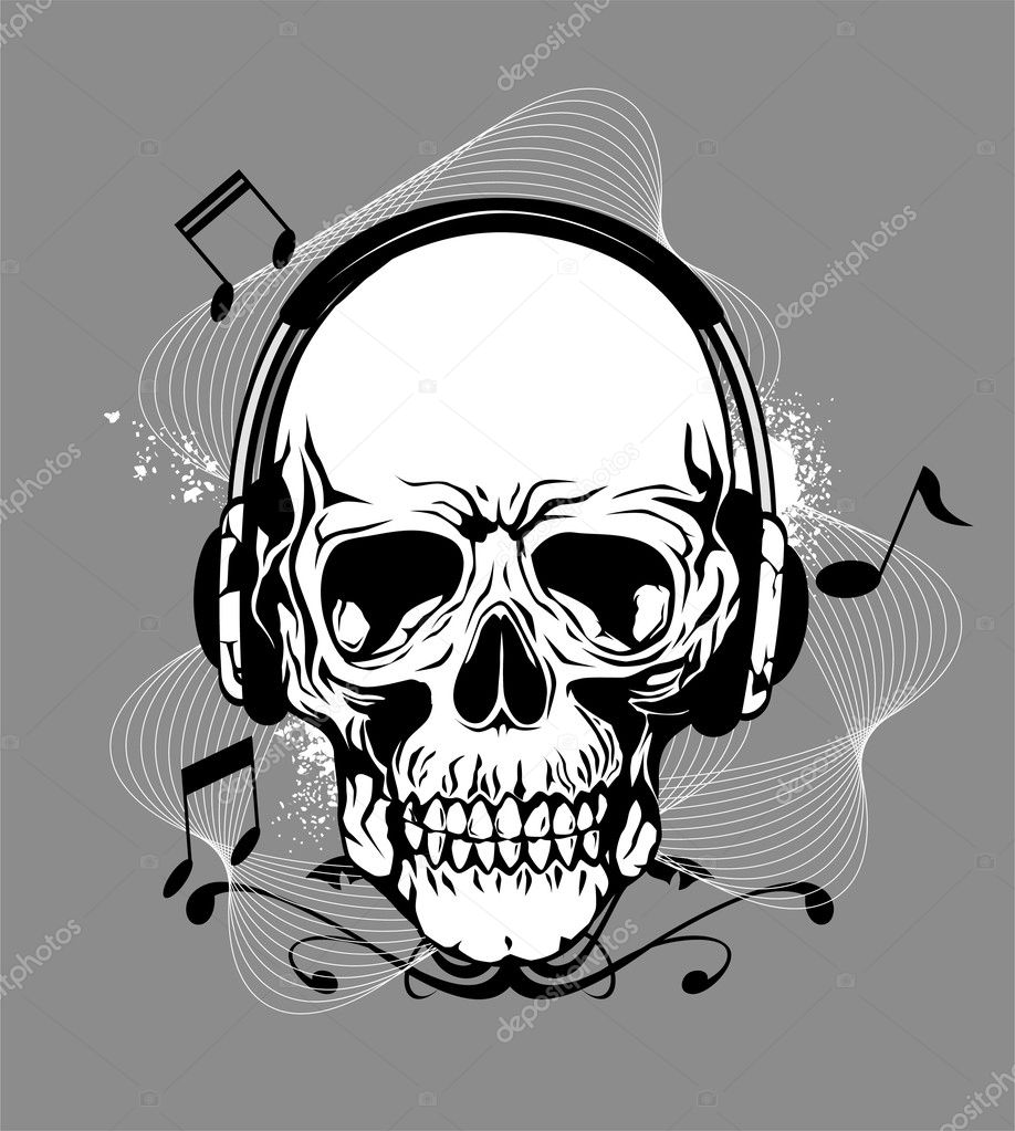 Skull with headphone — Stock Vector #6690005