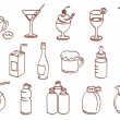 Stock Vector: Beverage related icon set