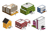 Isometric building collection — Stock Vector