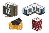 Isometric building set — Stock Vector