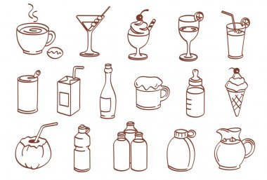 Beverage related icon set