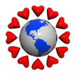 Hearts near the earth — Stock Photo #6298591