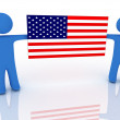 Persons with flag — Stock Photo