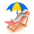Chaise Longue, person and umbrella — Stock Photo