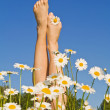 Woman legs with spring or summer flowers — Stock Photo