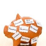 Piggy bank with notes - saving concept — Stock Photo
