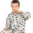 Kid brushing teeth before bedtime — Stock Photo #6409321